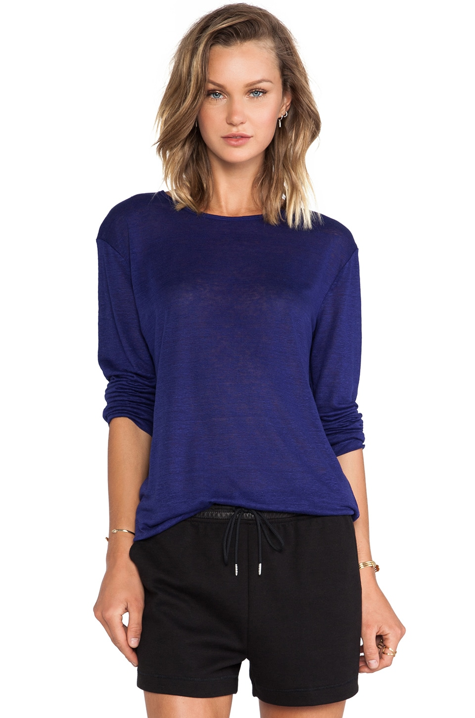 T by Alexander Wang Linen Silk Jersey Long Sleeve Tee in Iris