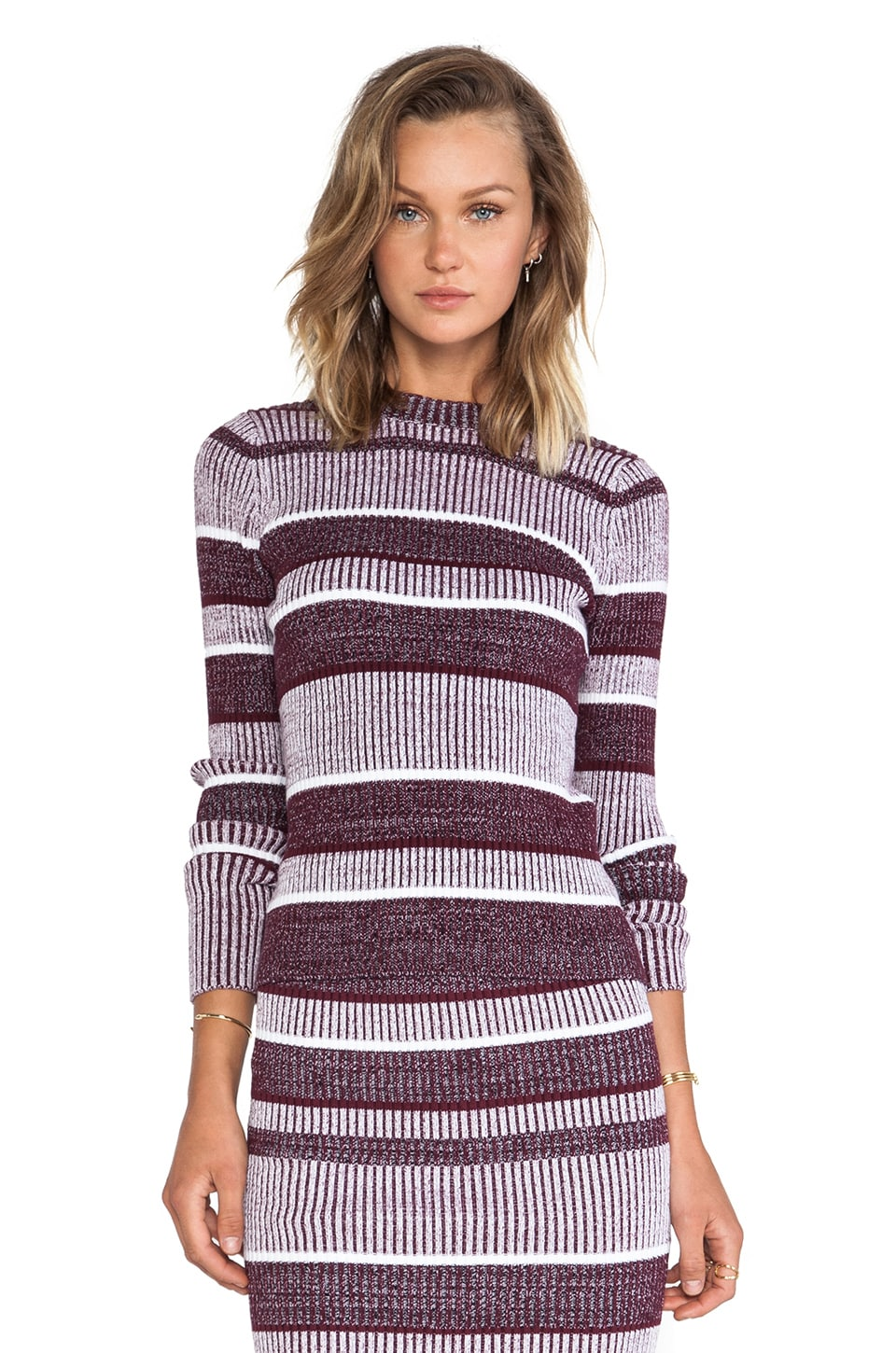 T by Alexander Wang 2 x 2 Rib Long Sleeve Mock Neck Top in Bordeaux