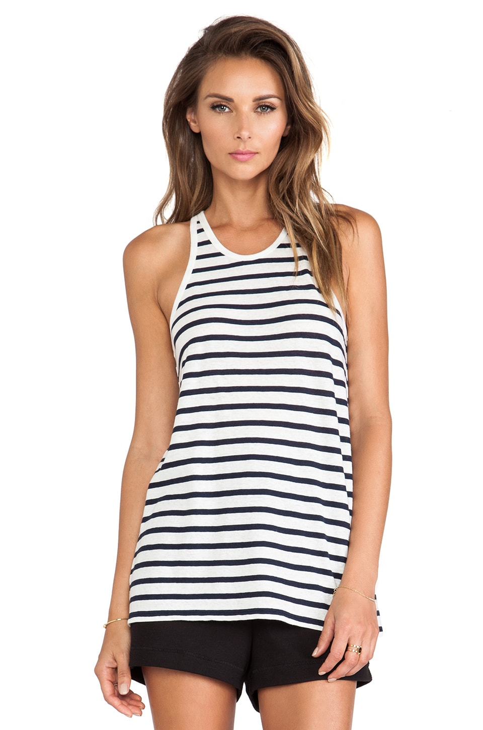 T by Alexander Wang Stripe Linen Cotton Tank in Ink & Ivory