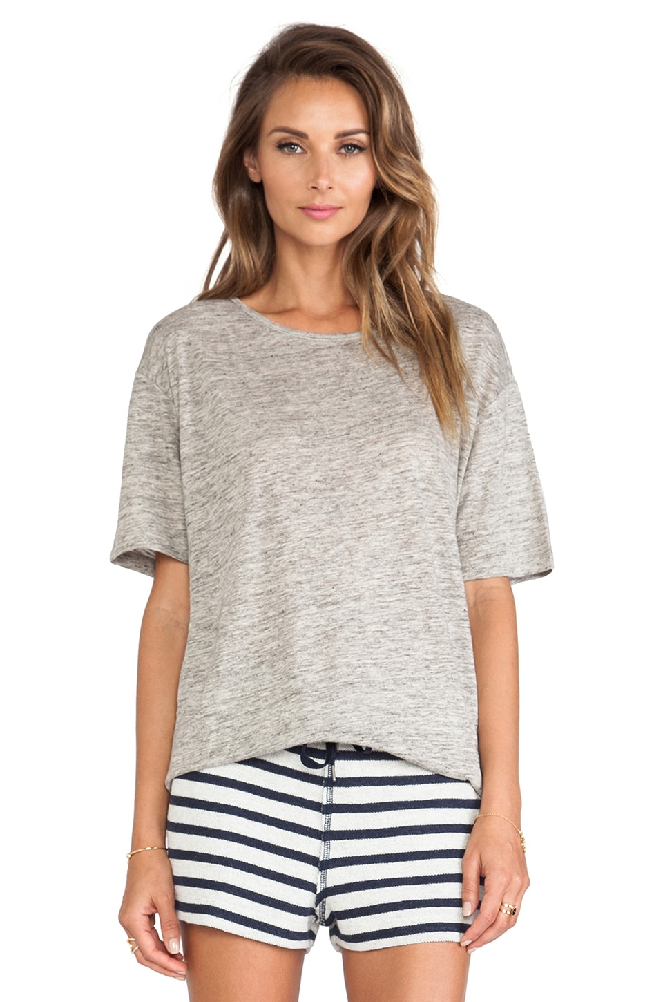 T by Alexander Wang Heather Oversized Tee in Light Heather Grey