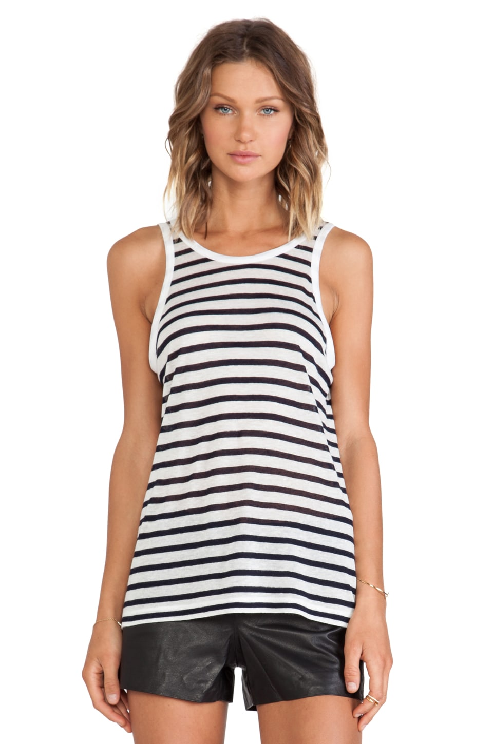 T by Alexander Wang Stripe Tank in Ink & White