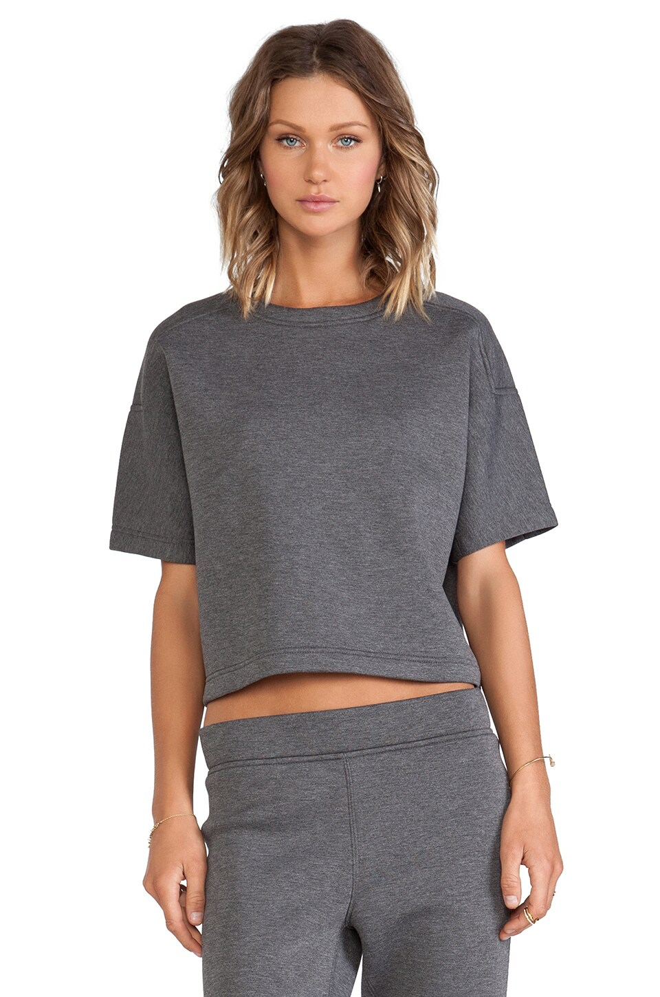 T by Alexander Wang Scuba Short Sleeve Top in Charcoal