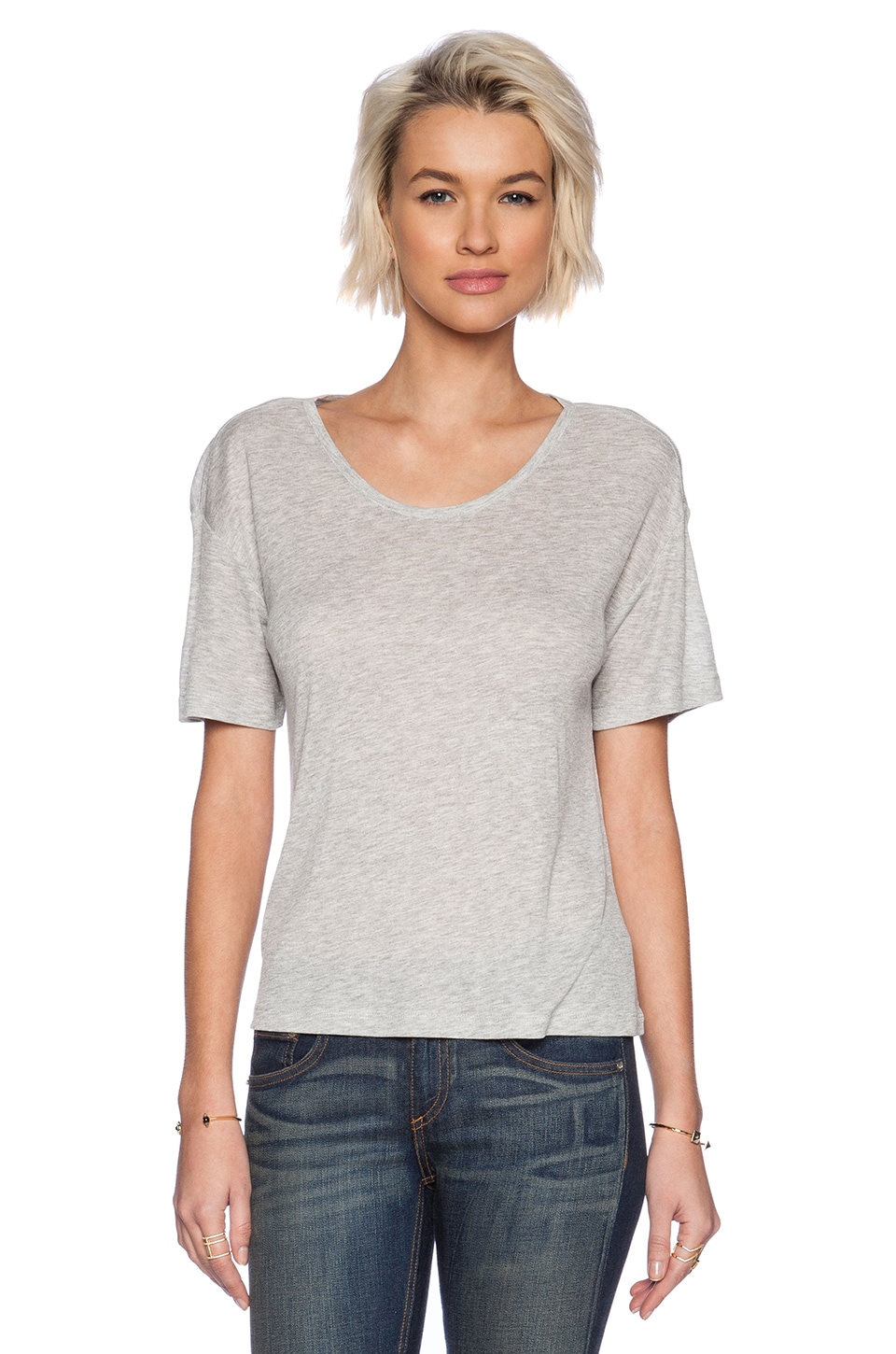 T by Alexander Wang Soft Melange Rib Oversize Tee in Light Heather Grey