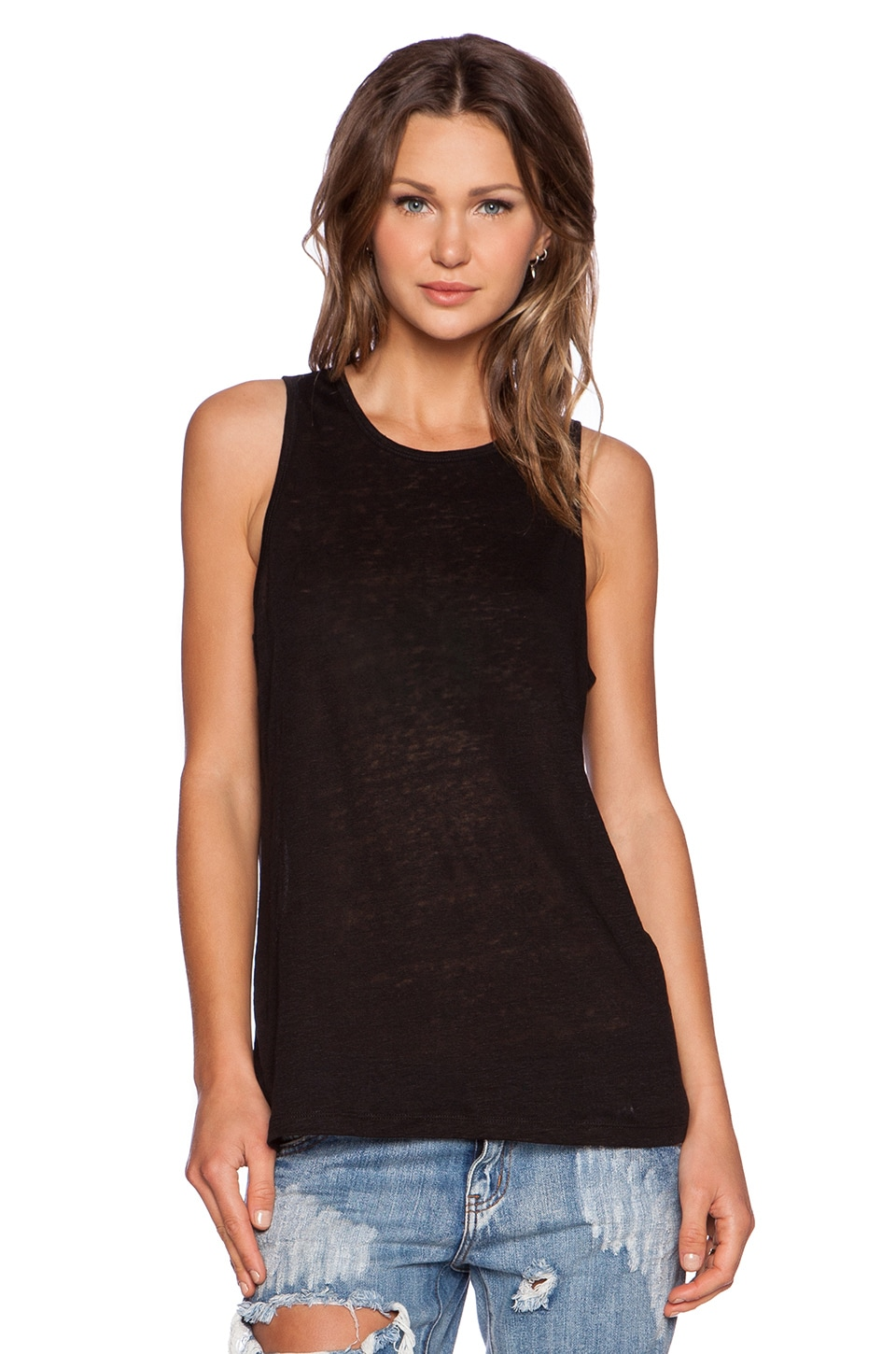 T by Alexander Wang Linen Silk Jersey Oversized Tank in Black