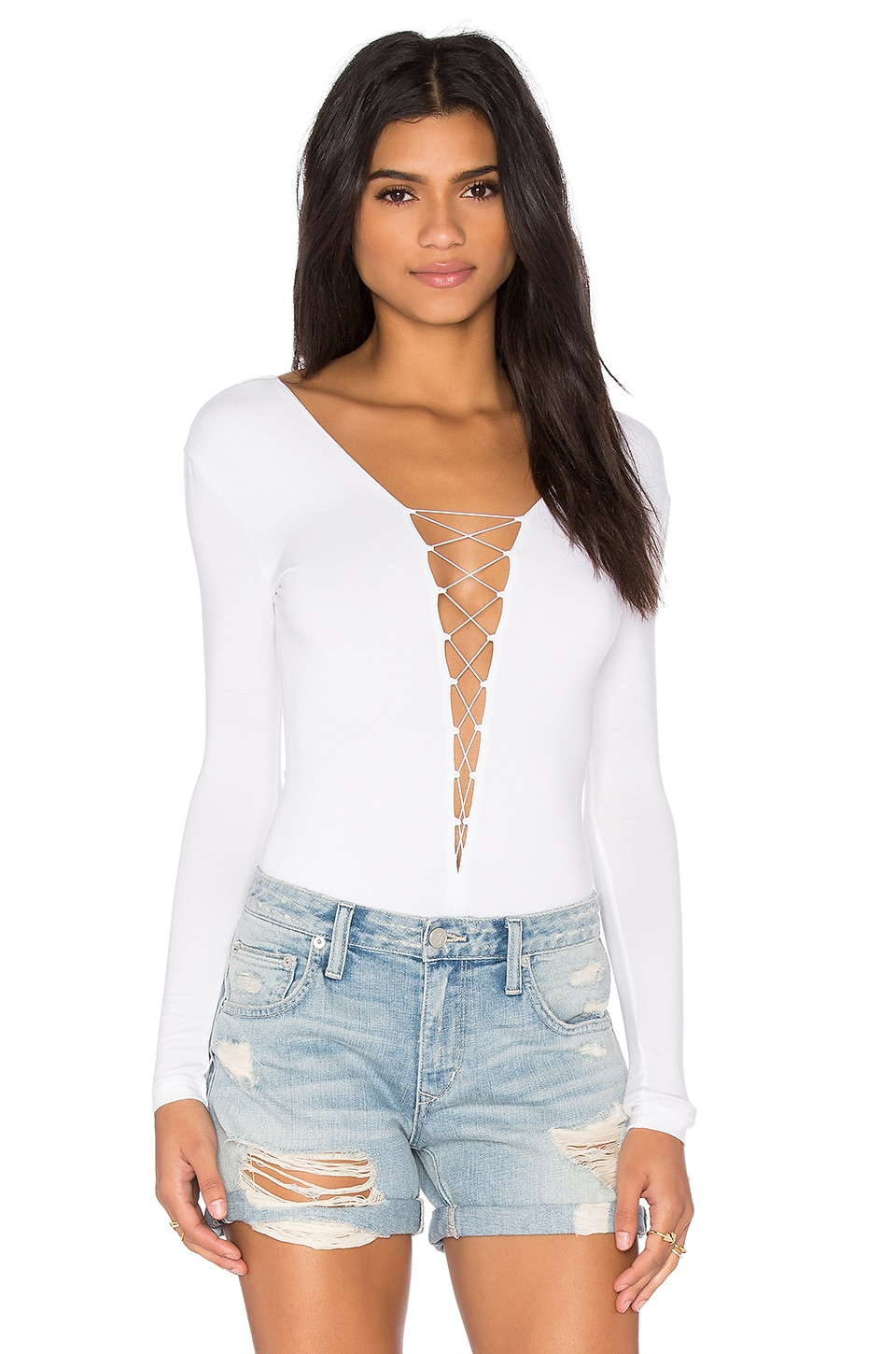 T by Alexander Wang Lace Up Bodysuit in White