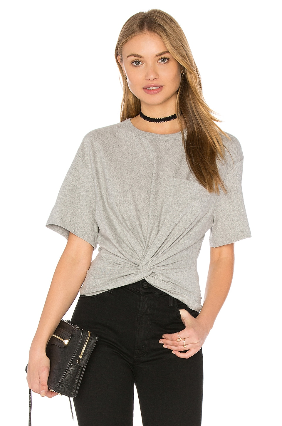 58114cb565439 T by Alexander Wang Front Twist Short Sleeve Tee in Heather Grey ...