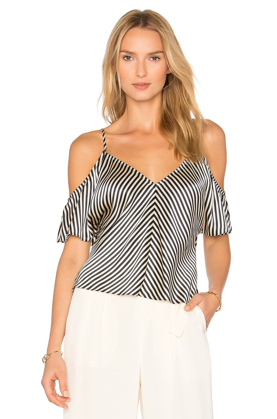 Cold Shoulder Silk Top by T By Alexander Wang