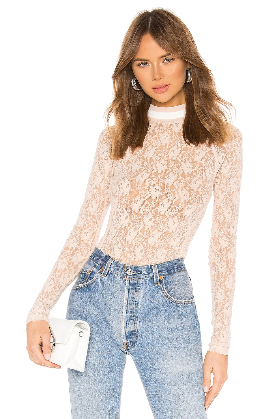 T by Alexander Wang Stretch Lace Bodysuit in Shell