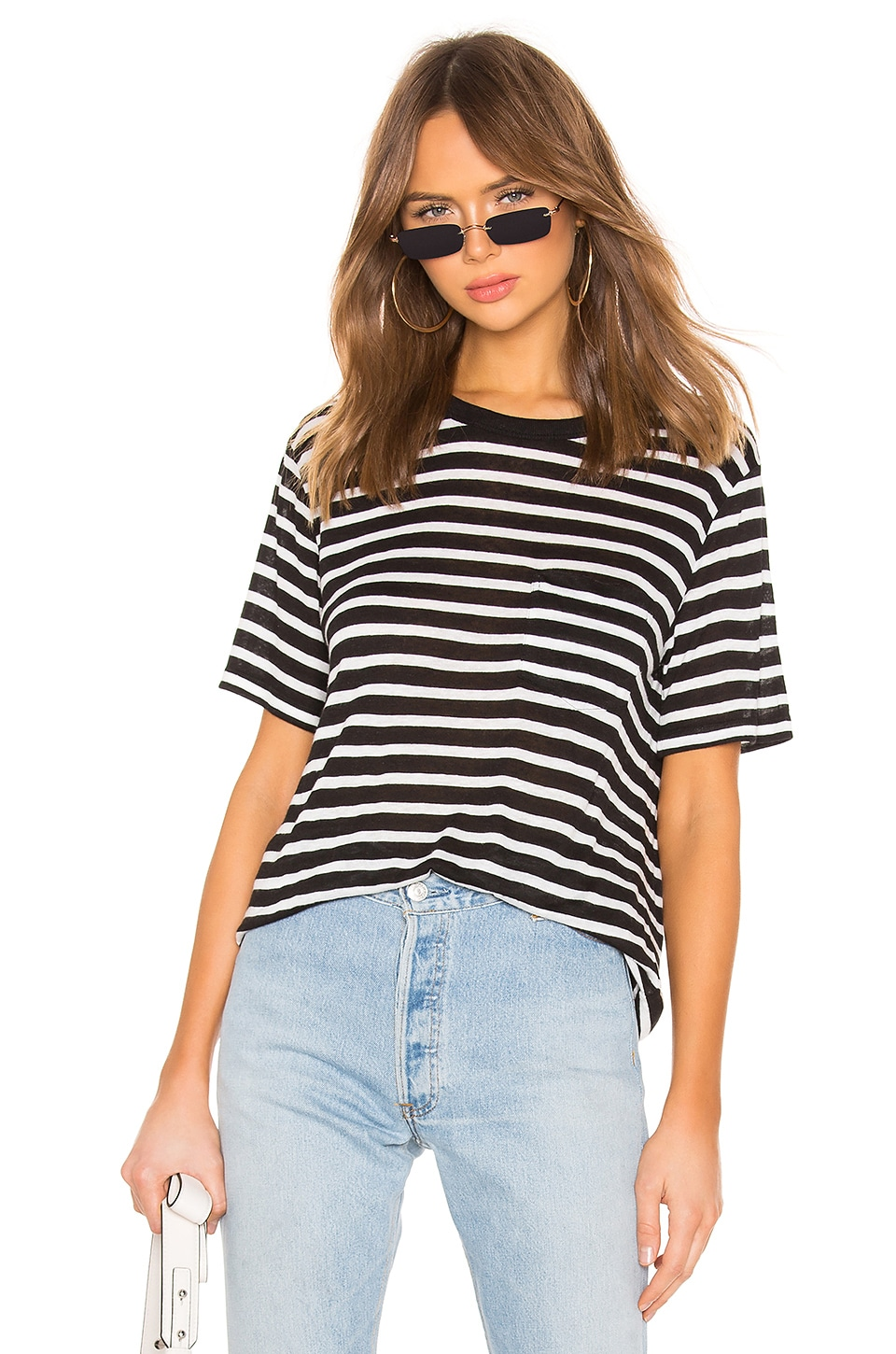 T by Alexander Wang Wide Striped Pocket Tee in Black & Ivory