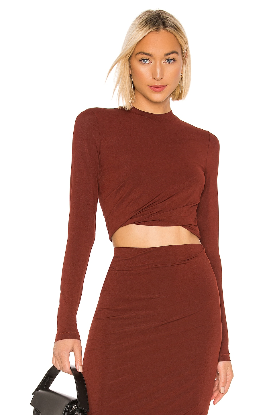 T by Alexander Wang Crepe Jersey Twisted Long Sleeve Top in Rust