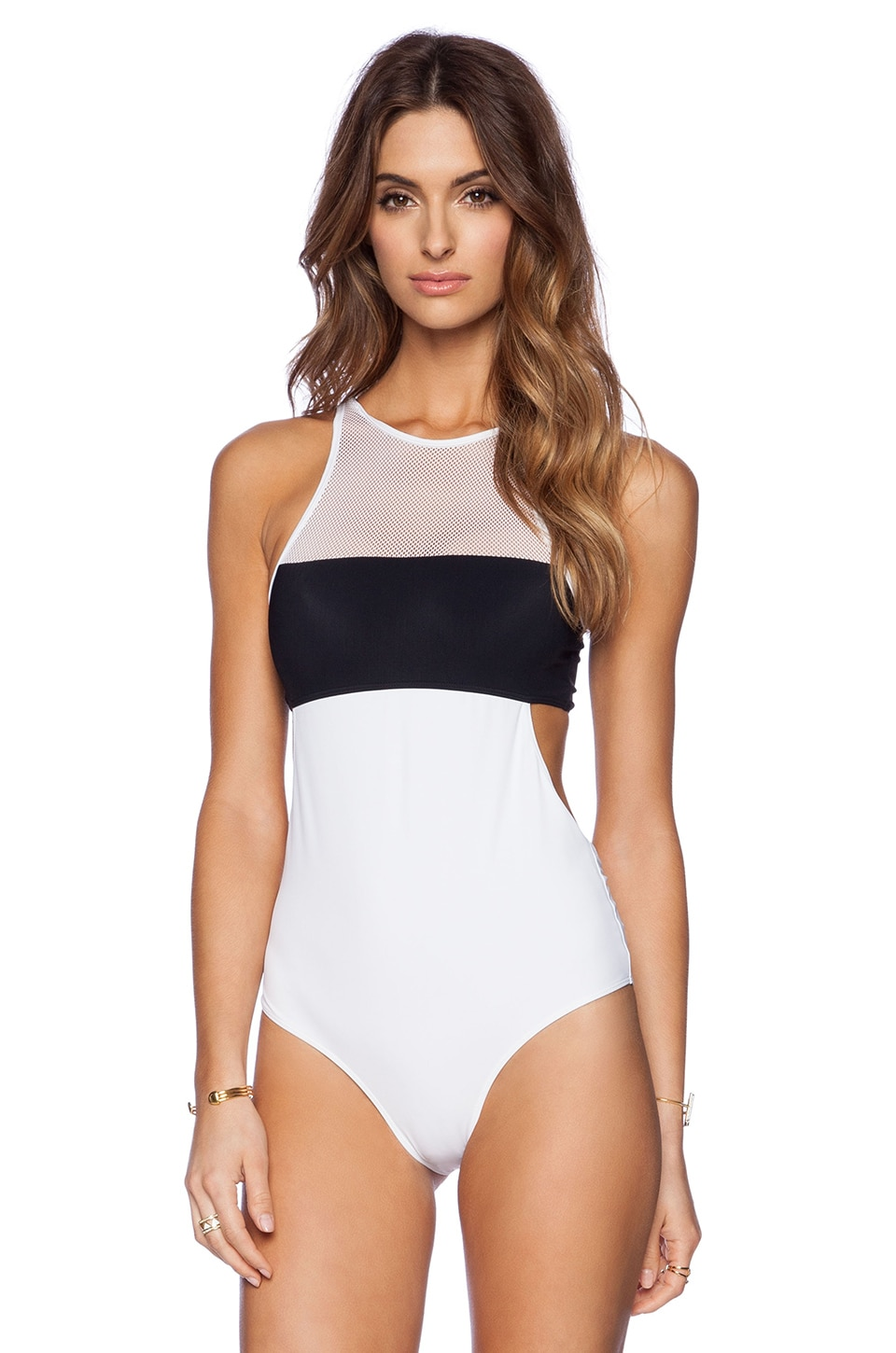 T by Alexander Wang Mesh & Matte Tricot One Piece Swimsuit in Black & White