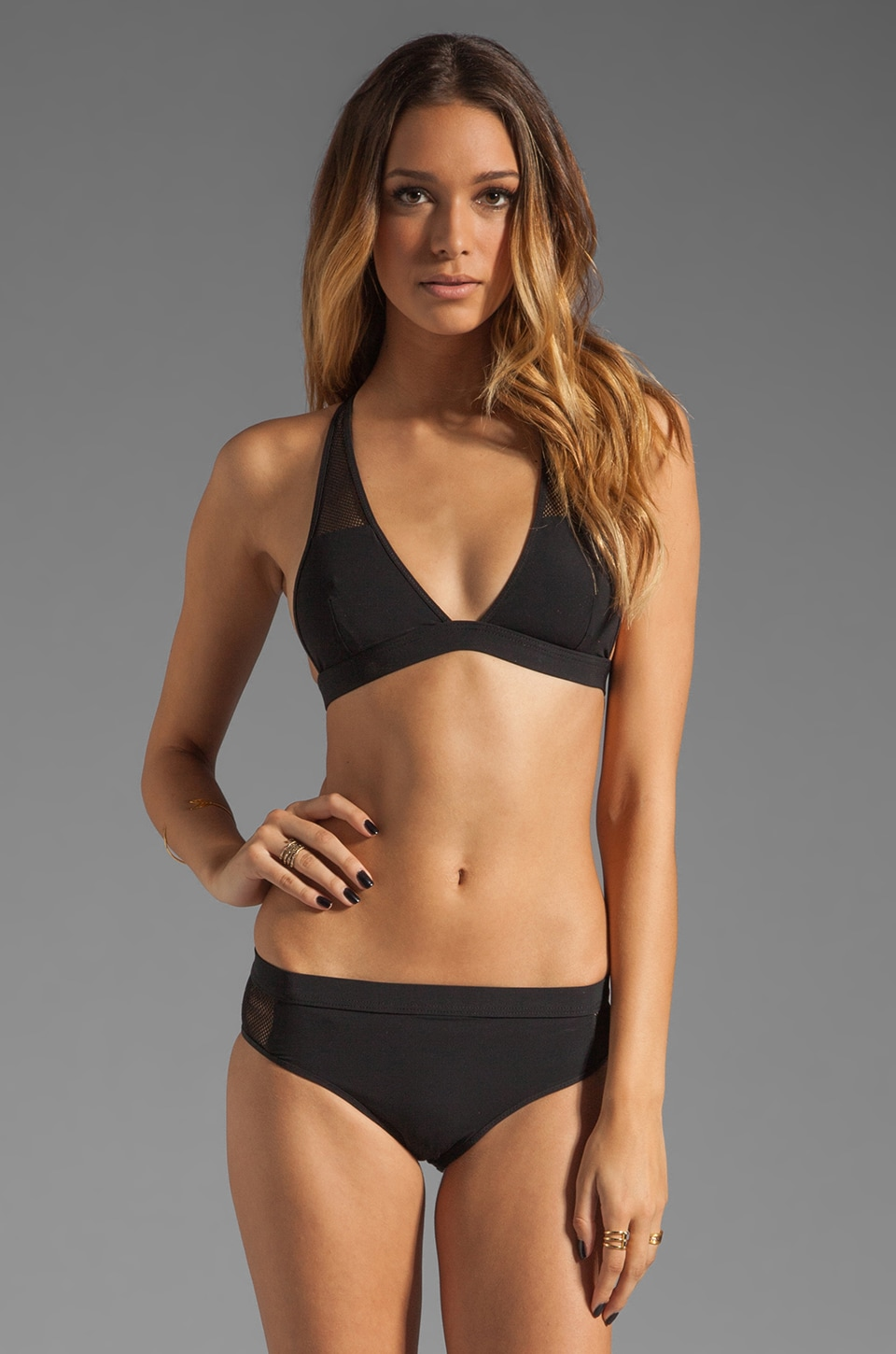 T by Alexander Wang Mesh Low V T-Back Swim Top in Black