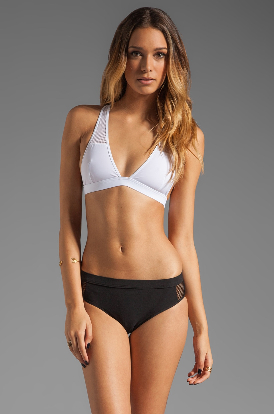 T by Alexander Wang Mesh Low V T-Back Swim Top in White