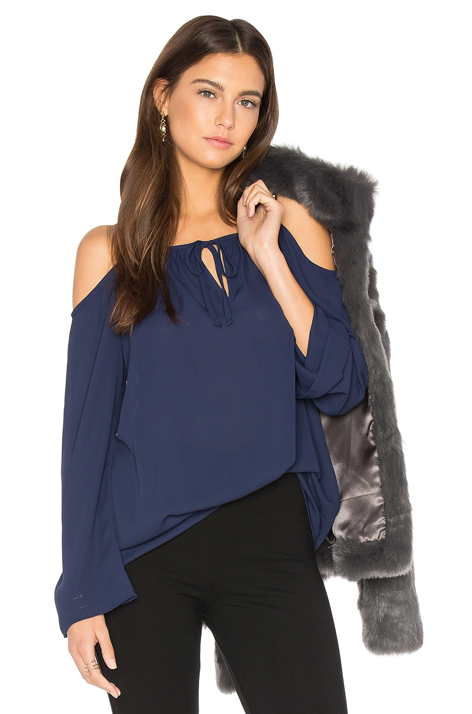 Three Eighty Two Payton Cold Shoulder Top in Starlight