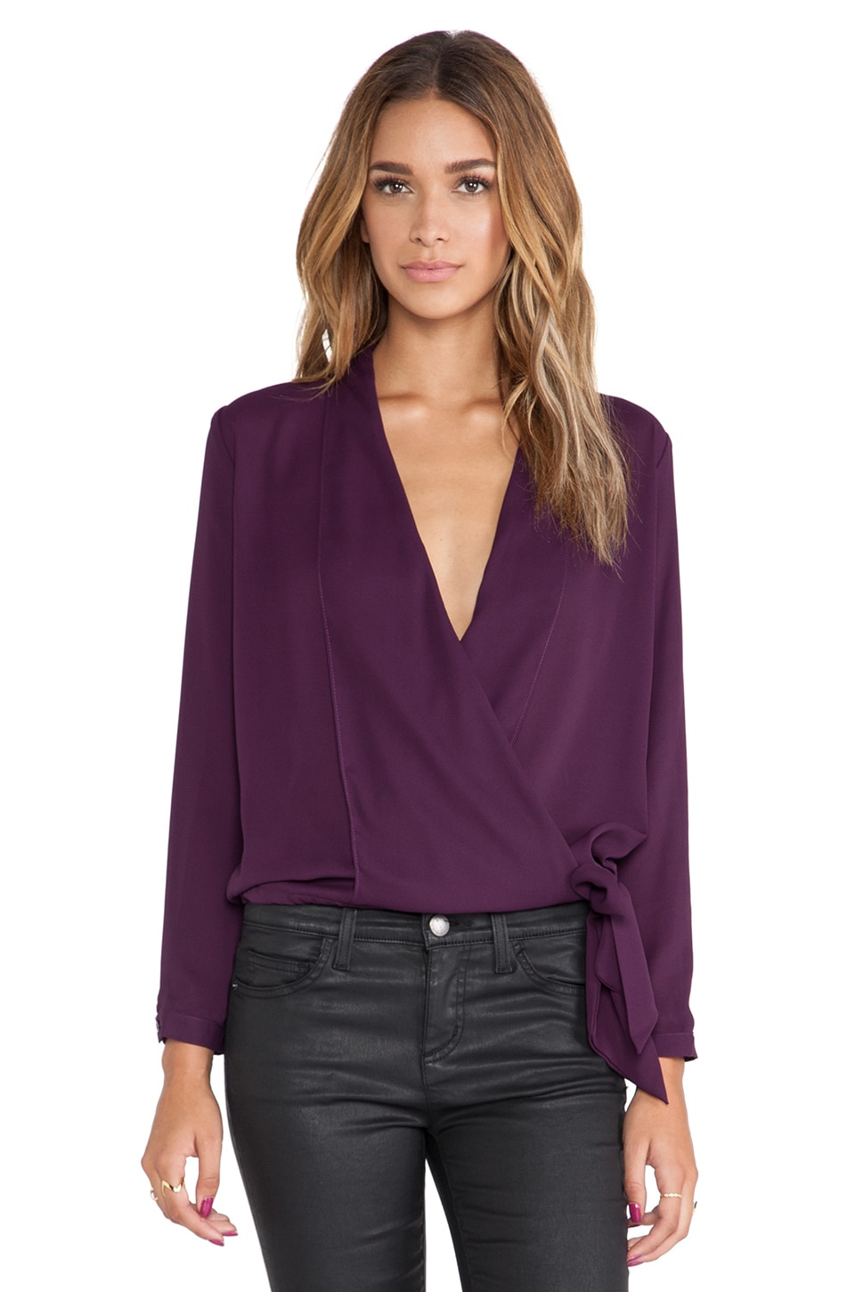 Three Eighty Two Stella Surplice Blouse in Eggplant