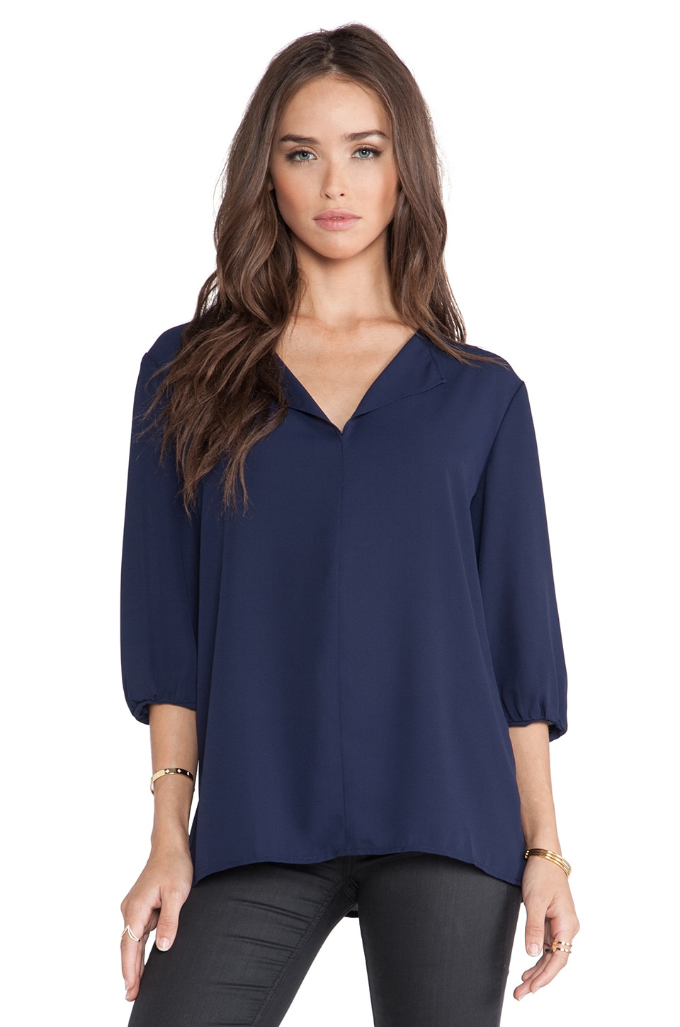 Three Eighty Two Madison Peasant Top in Navy