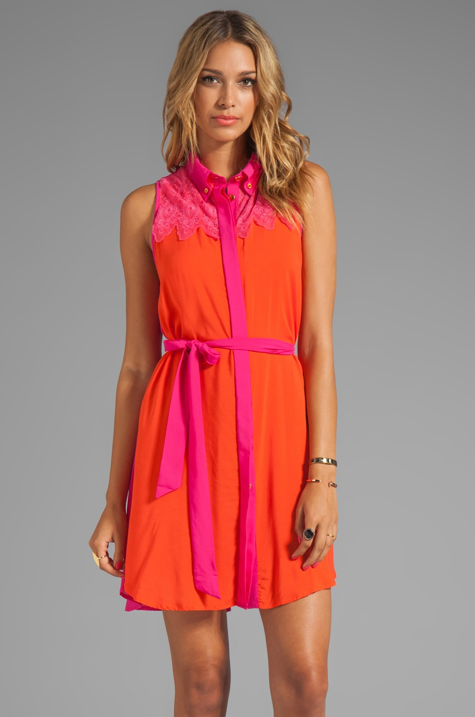 Testament Western Dress in Pink/Orange Combo