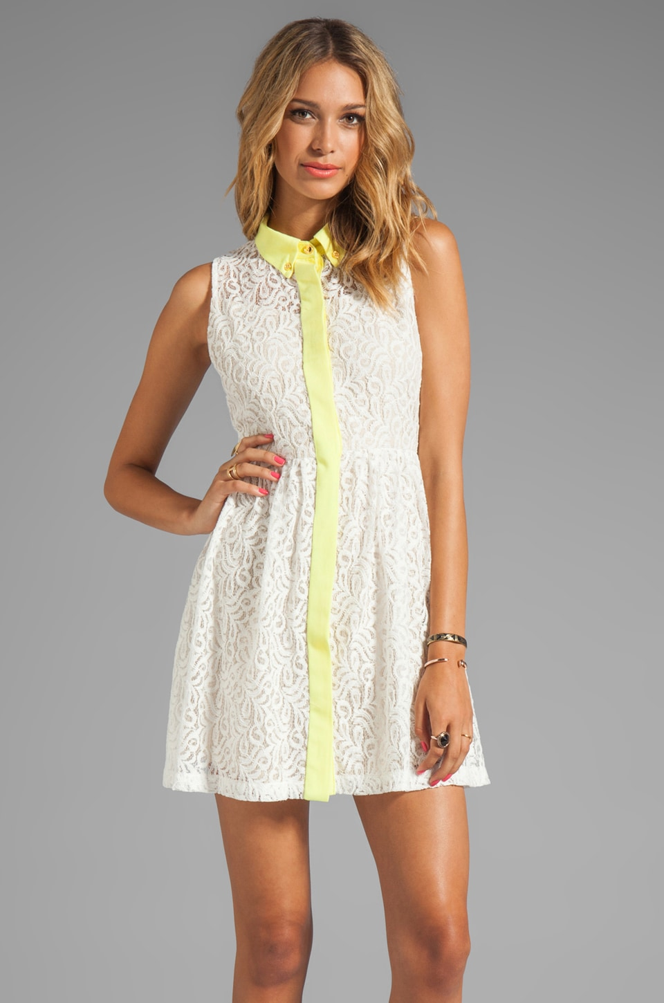 Testament Lace Oxford Dress in White/Lime