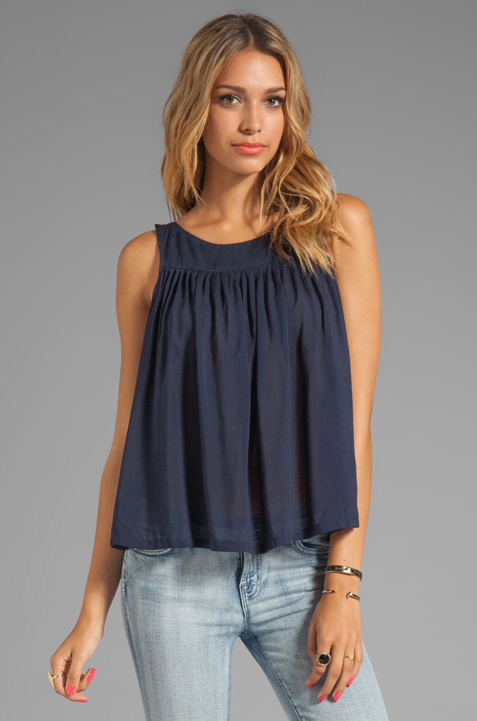 Testament Pleated Swing Top in Navy