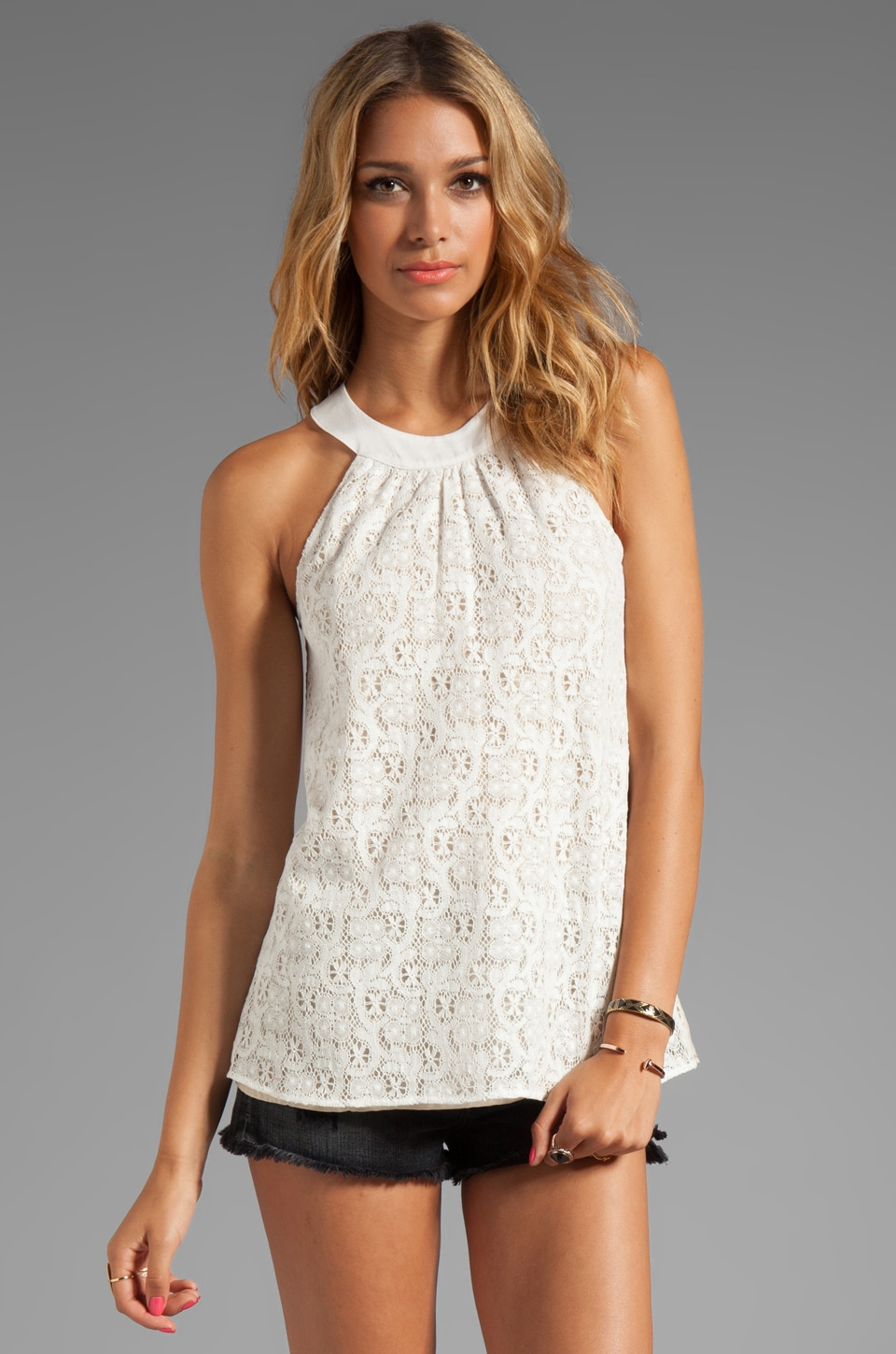 Testament Crochet Halter Top in White