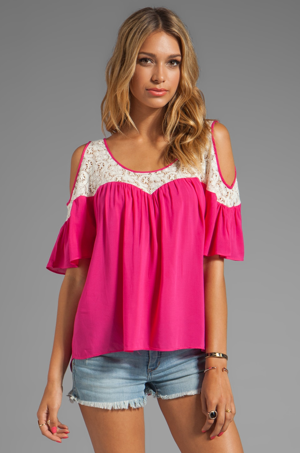 Testament Crochet Cold Shoulder Top in Fuchsia