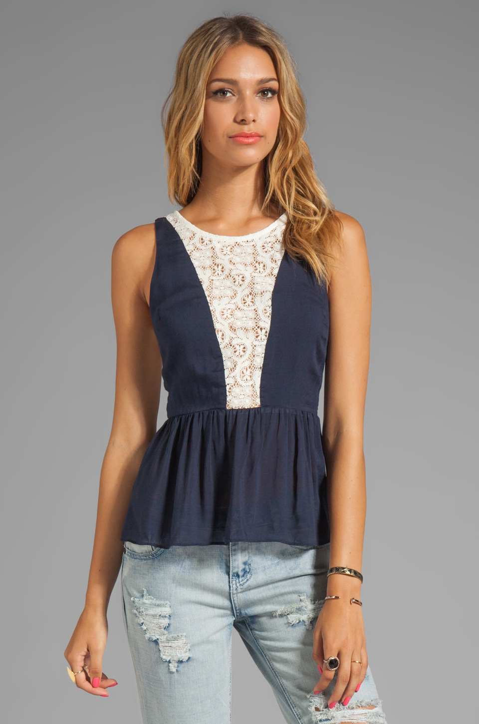 Testament Crochet Peplum Top in Navy