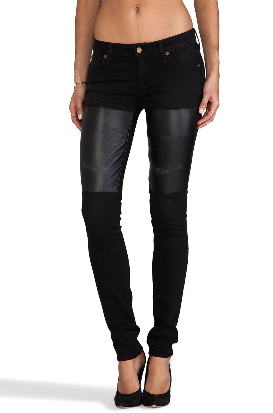 TEXTILE Elizabeth and James Jett Distressed Skinny with Leather Patch in Midnight