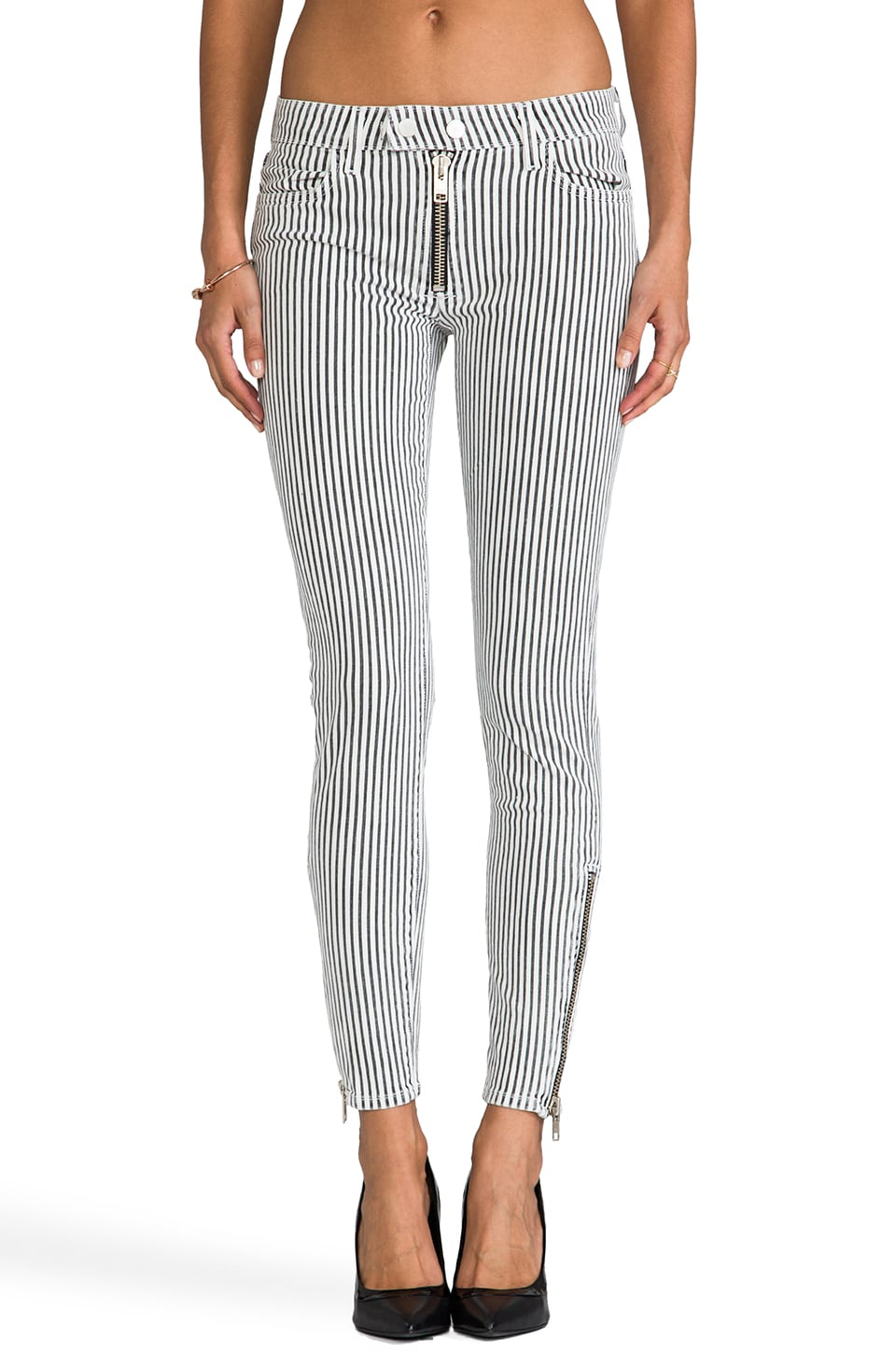 TEXTILE Elizabeth and James Cooper Pants in Black and White Stripe