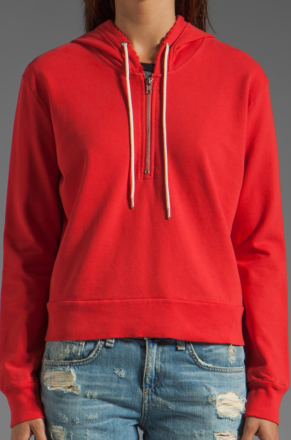 TEXTILE Elizabeth and James 1/2 Zip Perfect Sweatshirt in Strawberry