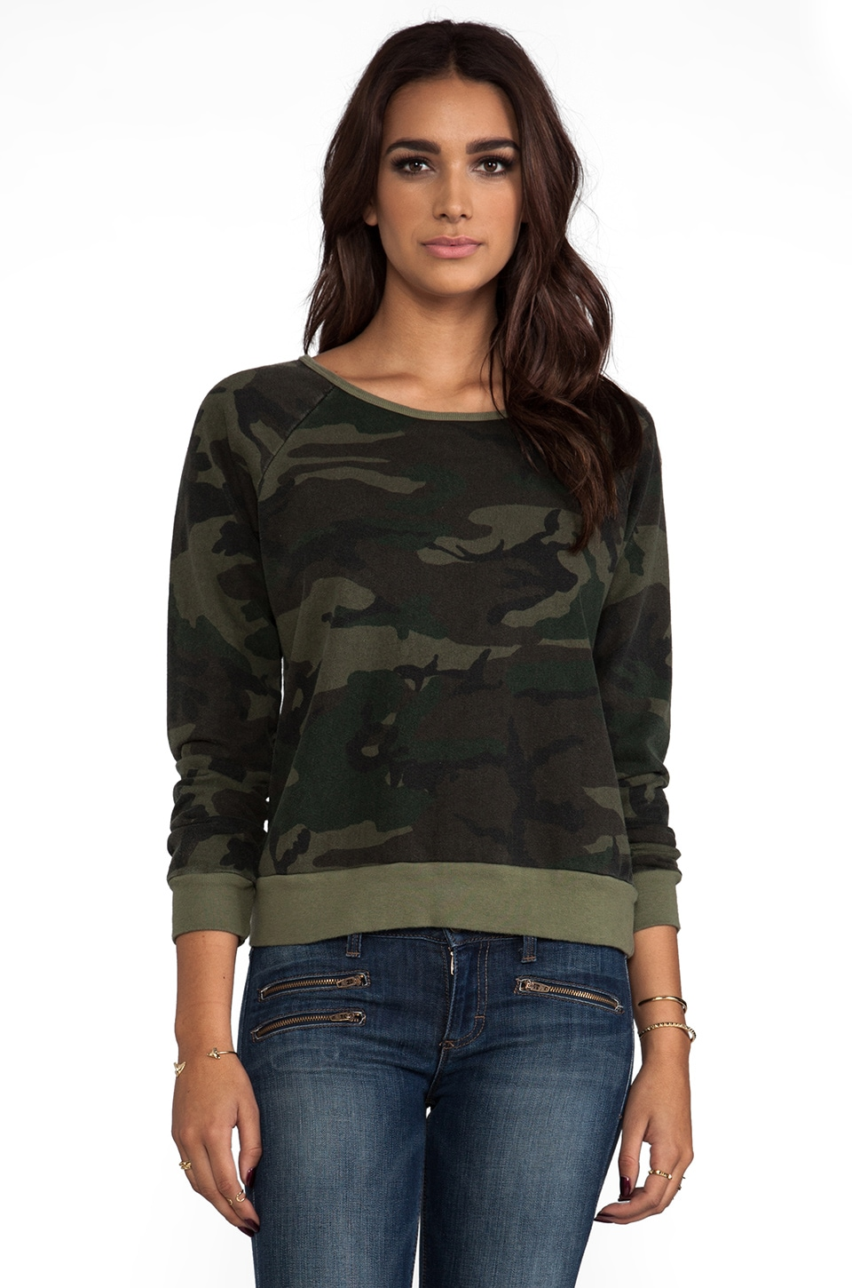 TEXTILE Elizabeth and James Perfect Sweatshirt in Olive Camo