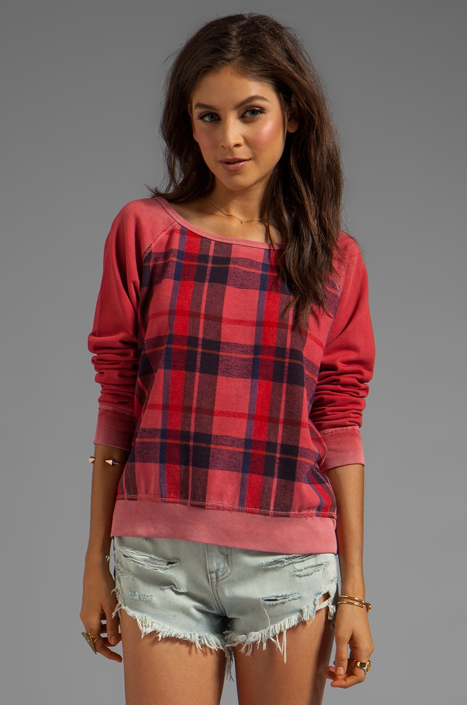 TEXTILE Elizabeth and James Perfect Sweatshirt in Flannel Red