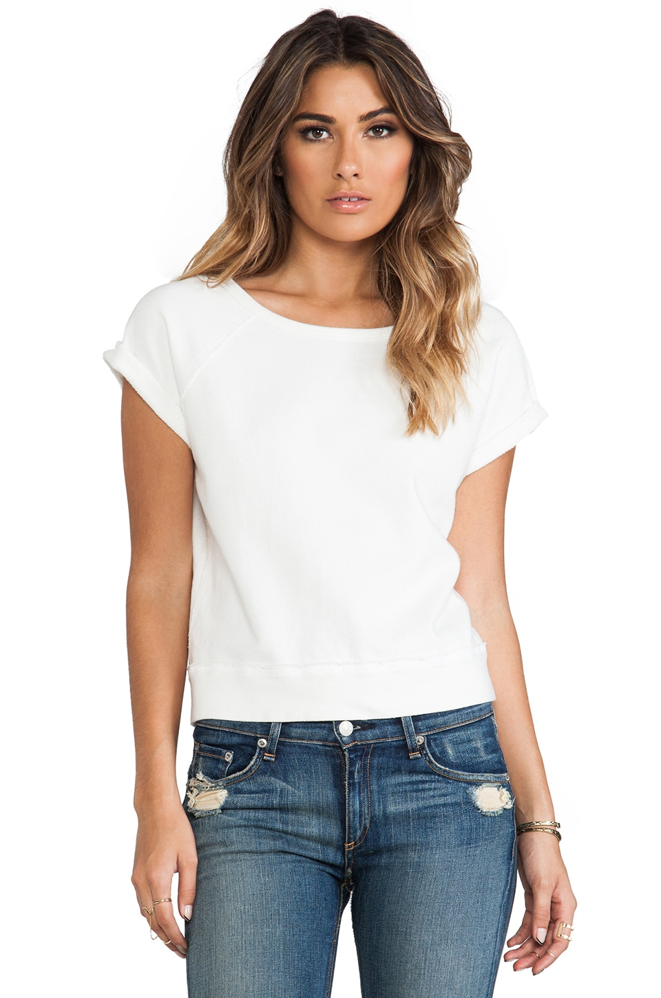TEXTILE Elizabeth and James Short Sleeve Perfect Sweatshirt in Off White