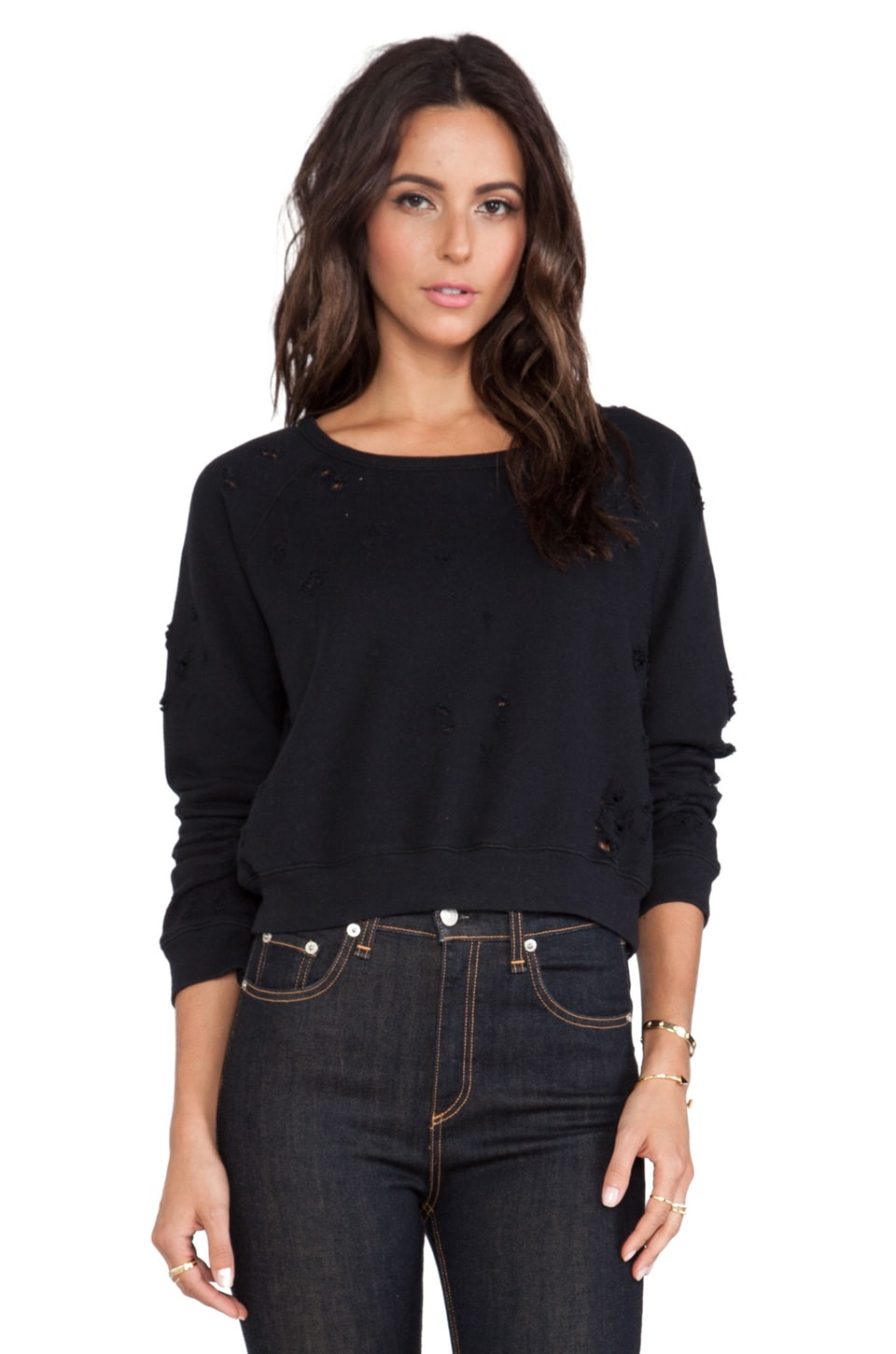 TEXTILE Elizabeth and James Distressed Perfect Sweatshirt in Black