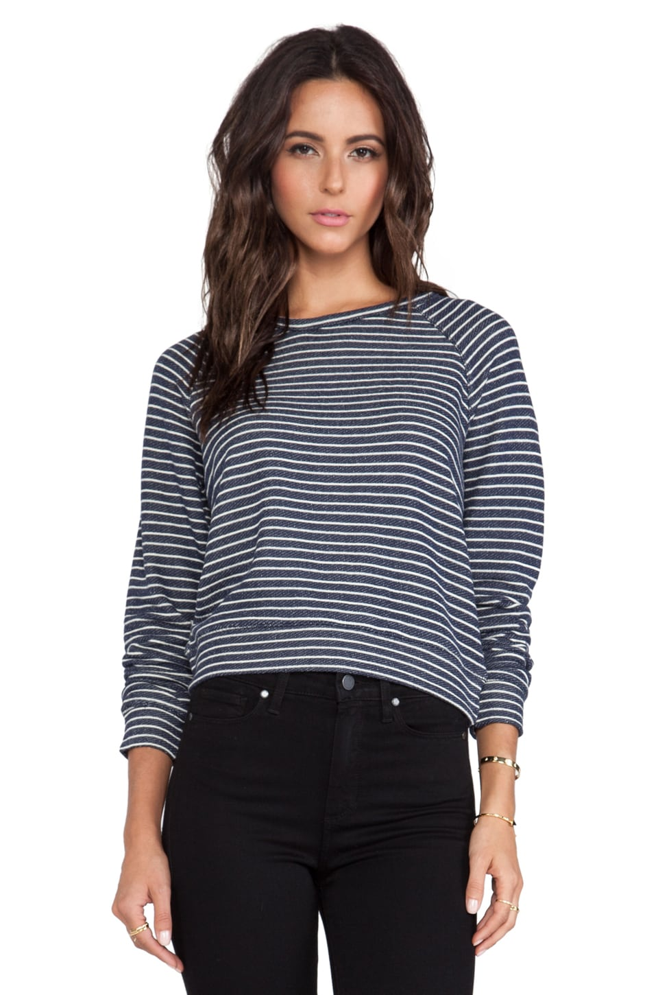 TEXTILE Elizabeth and James Striped Perfect Sweatshirt in Navy & White