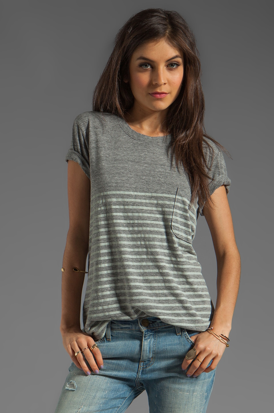 TEXTILE Elizabeth and James Castaway Bowery Tee in Heather Grey Combo