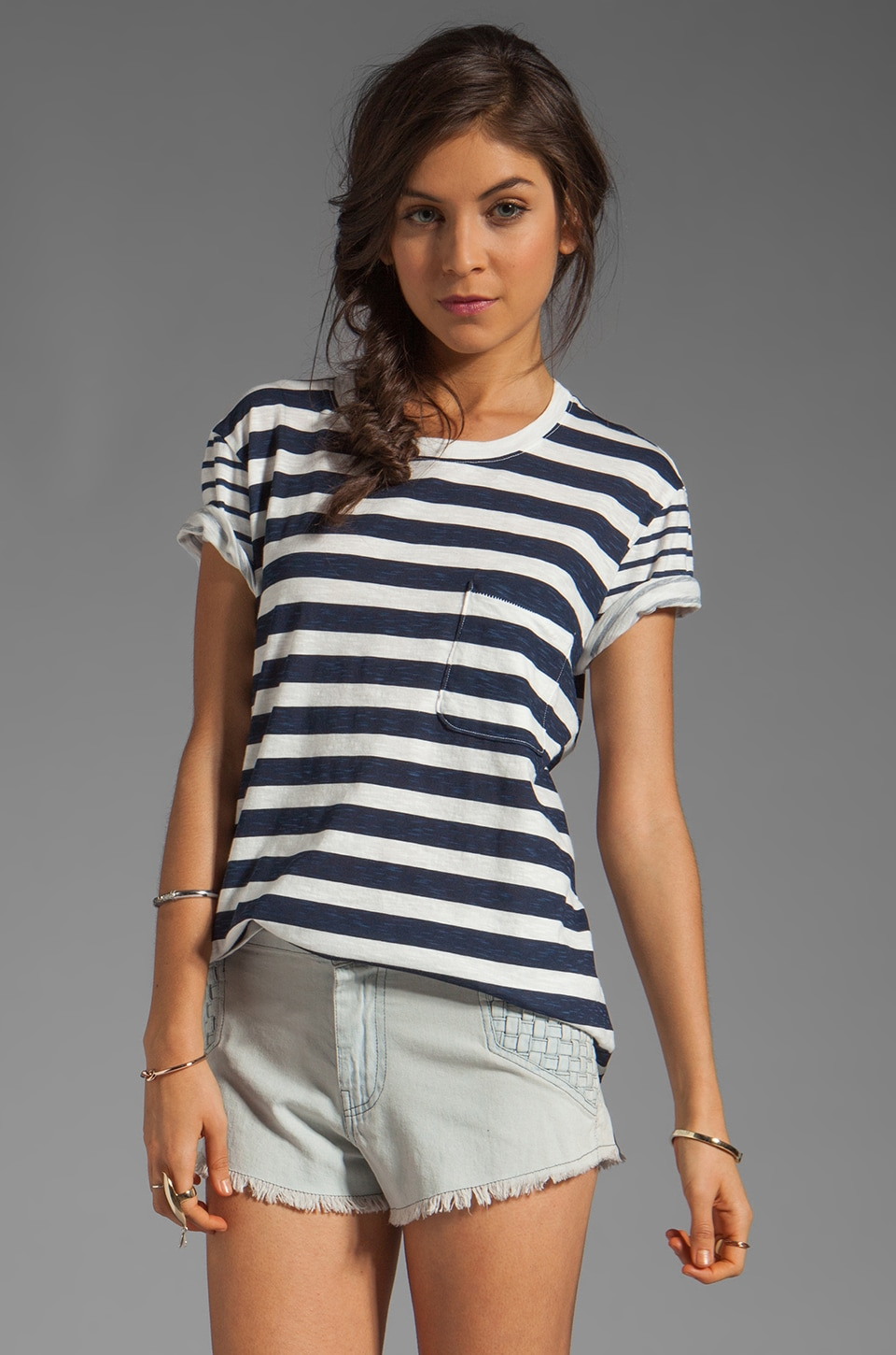 TEXTILE Elizabeth and James Multi Stripe Bowery Tee in White/Navy