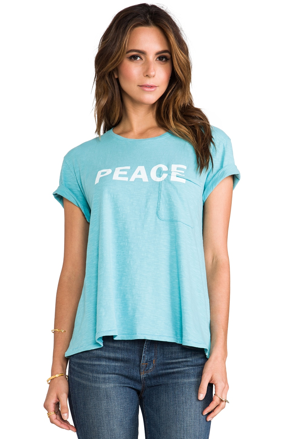 TEXTILE Elizabeth and James Peace Bowery Tee in Celeste Blue/White