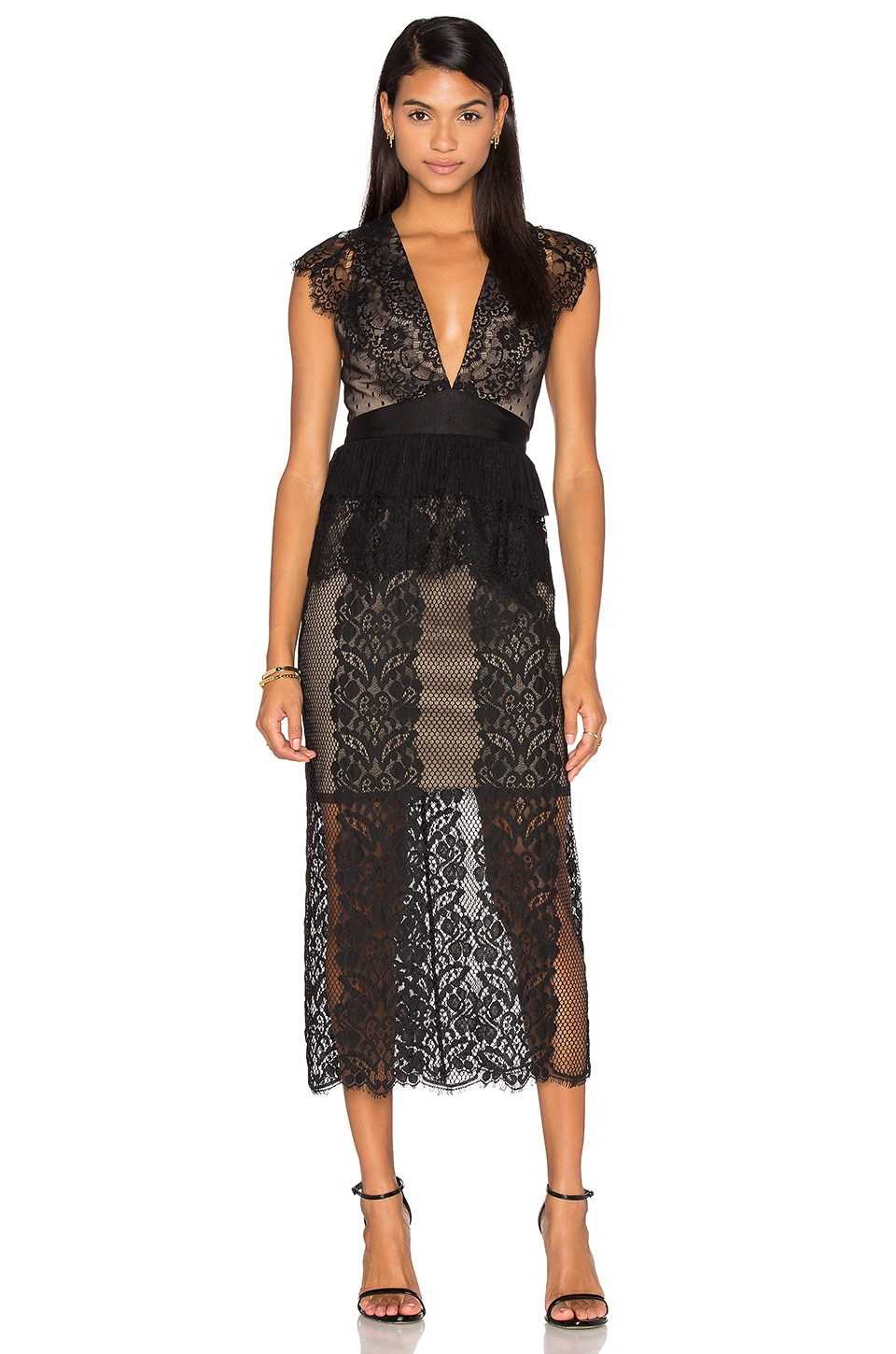 Three Floor Lace Affair Dress in Black & Nude