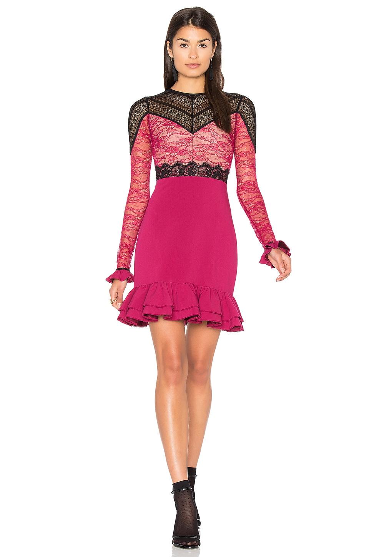 Three Floor Rosa Dress in Damson Plum & Black
