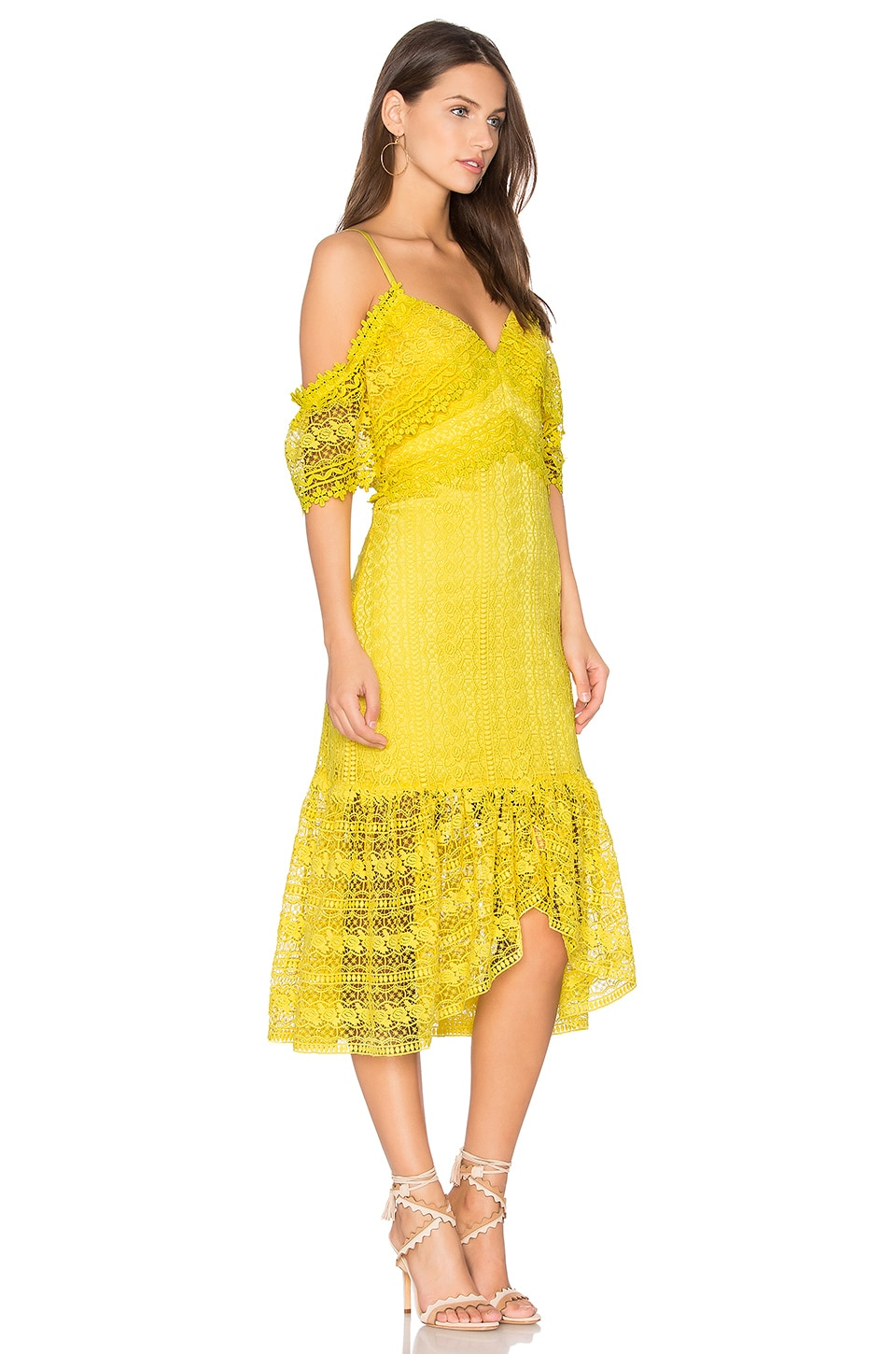 Three Floor Yellow Dress Of 2 Stores In Stock Three Floor Starry Eyed Cold Shoulder