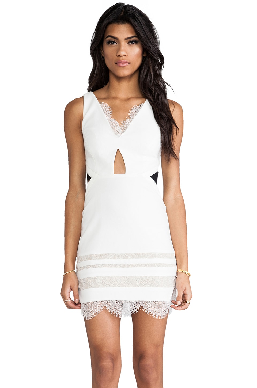 Three Floor White Isle Dress in White & Black
