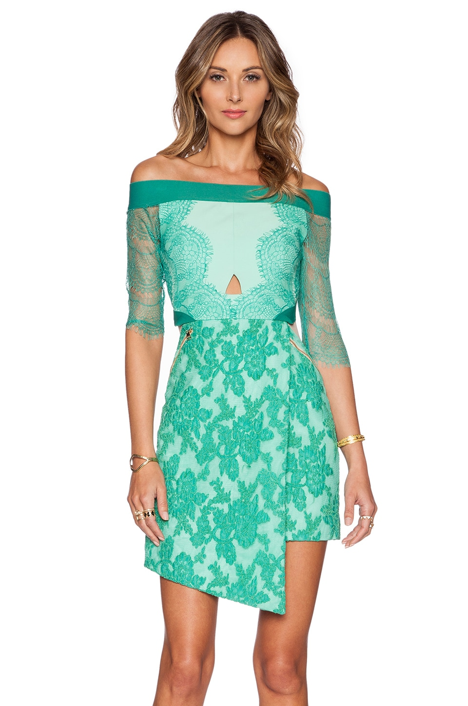 Three floor lace is more dress in jungle celadon revolve for Three floor yellow dress