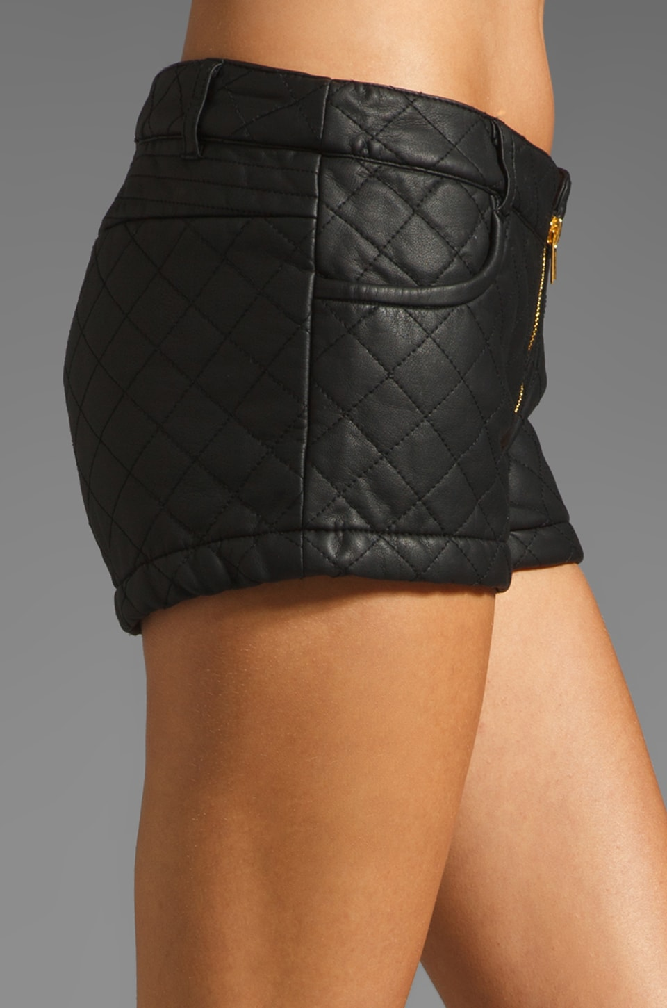 Three Floor Dark Horse Faux Leather Quilted Hot Pants in Black