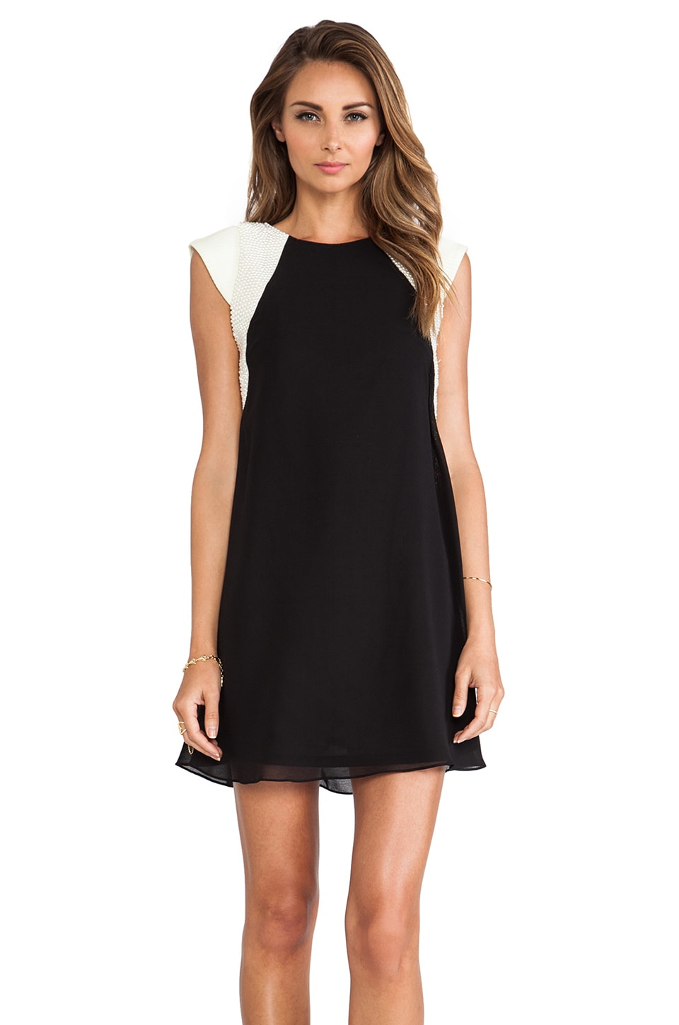TFNC London Jewel Pearl Dress in Black