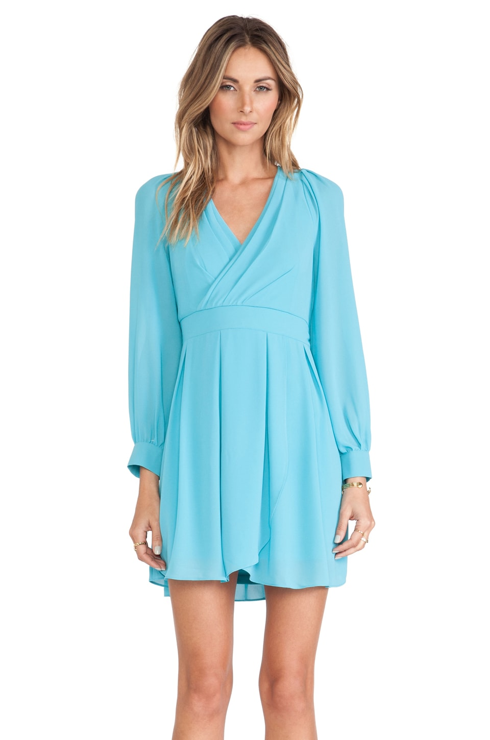 TFNC London Iman Long Sleeve Dress in Turquoise