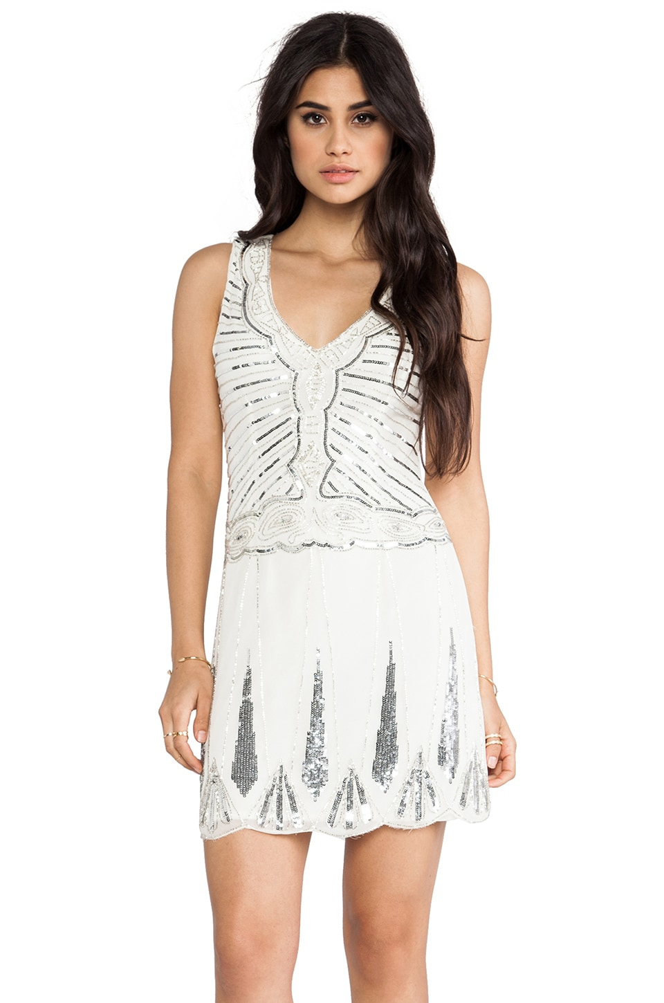 TFNC London Stacey Embellished Mini in White & Silver