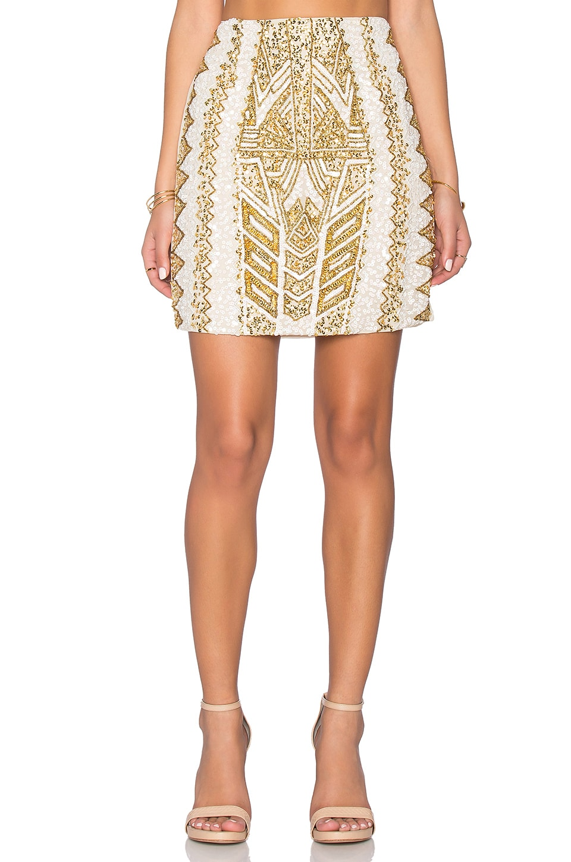 TFNC London Abigail Embellished Skirt in Cream & Gold