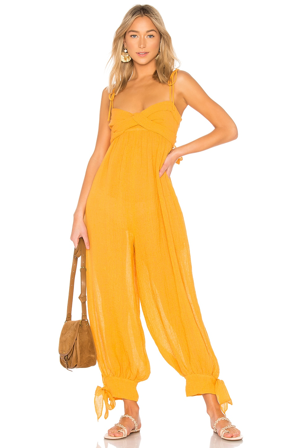 Three Graces Reed Jumpsuit in Bright Mustard Cheesecloth