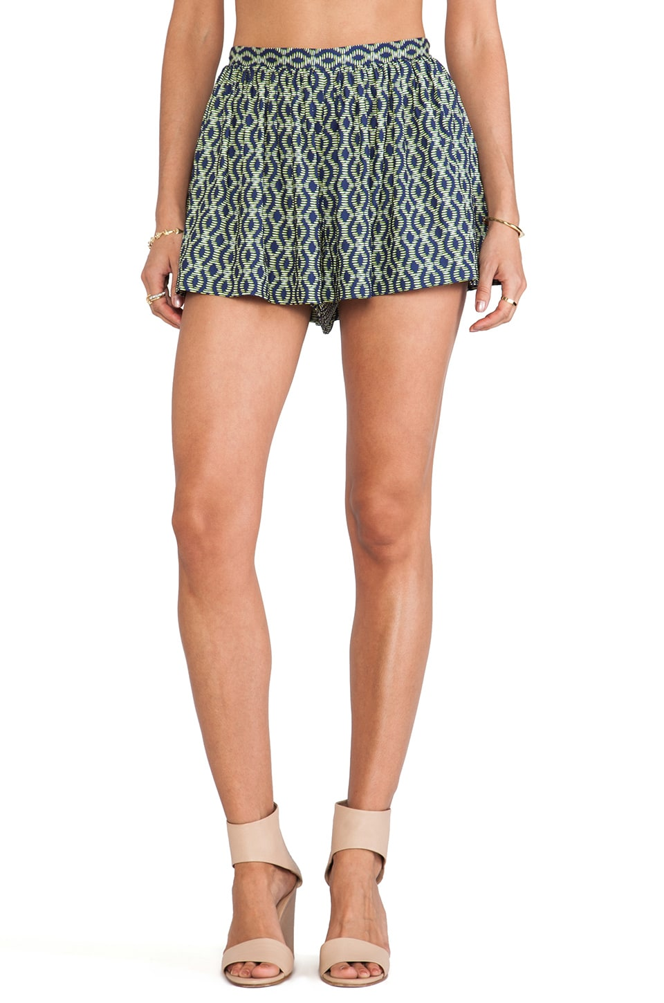 Thakoon Addition Helix Printed Full Shorts in Green & Blue