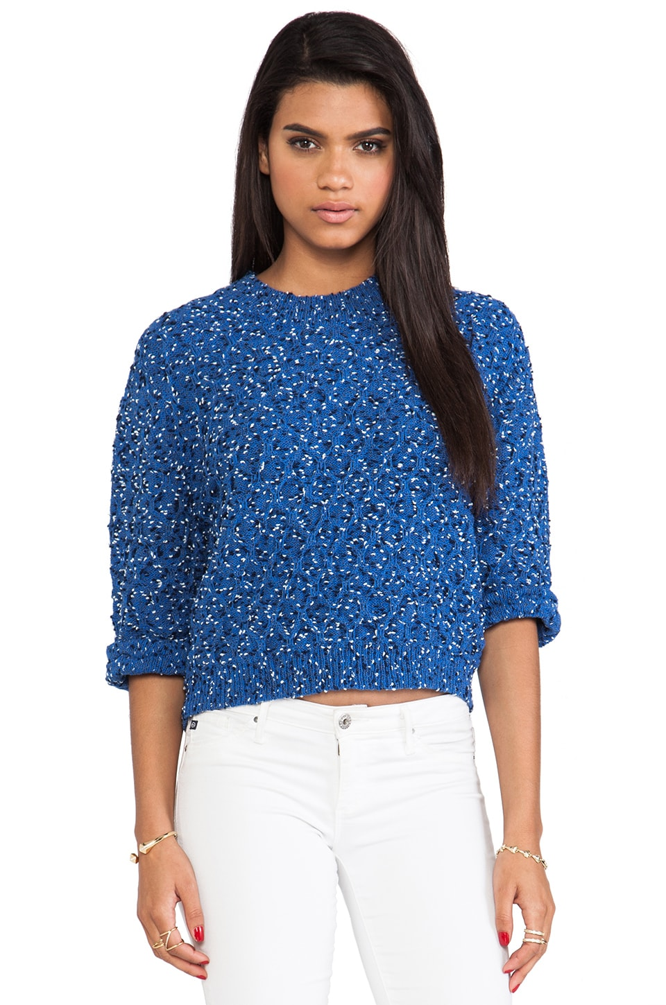 Thakoon Addition Marled Slouchy Shirt in Blue Multi